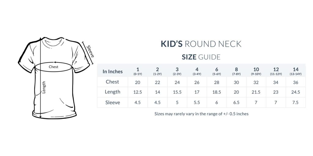 Kids Round Neck Size Guide 1