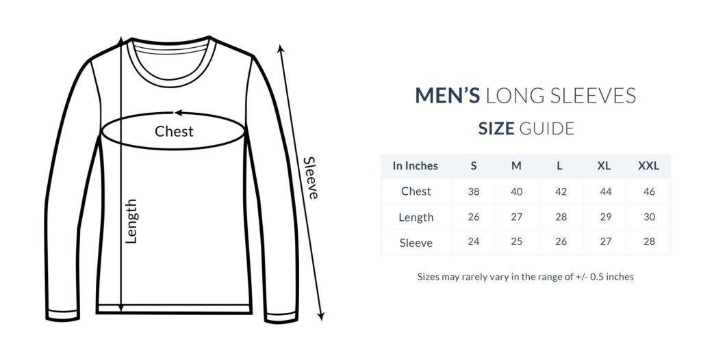 Men Full Sleeve New Size Guide